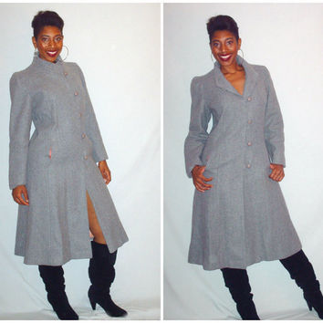 Vintage 1980s Wool Full Length Coat Gray Oversize Fit