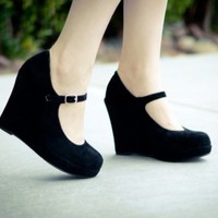 Bonnibel Dolly-1 Round Toe MaryJane Platform Wedge (Black) - Shoes 4 U Las Vegas