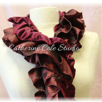 womens scarves fashion scarf shawl holiday scarf Taffeta velvet ruffled long scarf womens RADIANT RUFFLE Burgundy Catherine Cole Studio SC14