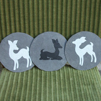 3 Art Deco Doe Fawn Velvet Paintings - Set of Three