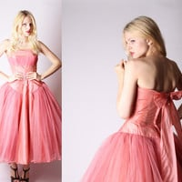 Vintage 1950s Dress  1950s Pink Dress  50s Party by aiseirigh