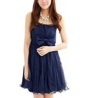 Allegra K Ladies Bowknot Accent Front Strapless Mini Dress Dark Blue XS