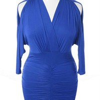 Plus Size Sexy V Hugging Cocktail Violet Dress, Plus Size Clothing, Club Wear, Dresses, Tops, Sexy Trendy Plus Size Women Clothes