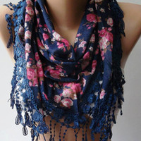 Dark Blue flowered Elegance Shawl / Scarf with Lacy by womann