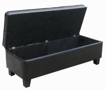 Black Leather Tufted Storage Bench From Amazon