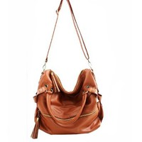 Tassel Leather Handbag Cross Body Shoulder Bag
