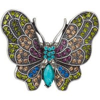 Amazon.com: Oversized Vintage Look Multi-Color Rhinestone Butterfly Stretch Ring: Jewelry