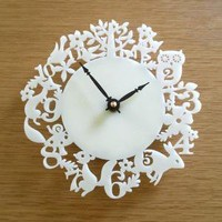 It's My Forest Clock  Acrylic Ivory by decoylab on Etsy