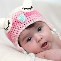 Crochet Owl baby girl hat Sleep owl photo prop Pink teal cream owl hat