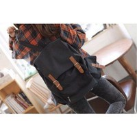 Amazon.com: Black Canvas Backpack Schoolbag Super Cute for School: Computers &amp; Accessories