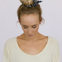 Fabric Polka Dot Wired Bun Wraps or Hair Accessories for Buns, Pony Tails, or Braid-Ins for Women and Girls in Black and White Polka Dot