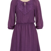 3/4 sleeve Peasant dress with crochet tie front