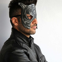 Black leather adult Tiger mask with matte finish silver-gold prints for men
