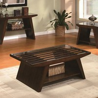 A.M.B. Furniture & Design :: Living room furniture :: Coffee table sets :: Midori dark brown finish wood coffee table with lower shelf and glass top with slatted design
