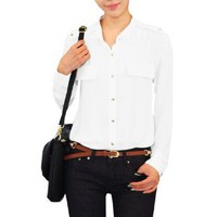 Allegra K Women Point Collar Long Sleeve Button up Shirt White XS
