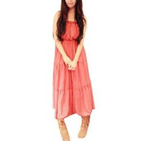 Allegra K Woman Sleeveless Watermelon Red Strapless Chiffon Dress S