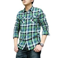 Allegra K Men Plaid Long Sleeve Point Collar Buttoned Fall Shirt Green Black S