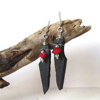 Lakeland Slate Dangle Earrings with imitation red Coral Chips - Silver Plated - Natural Stone Earrings