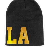 LA Beanie Slouchy Knit Hat -  Black with Gold Foil