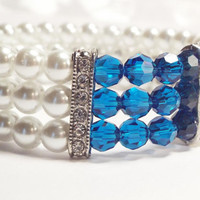 White and Blue Swarovski Bracelet