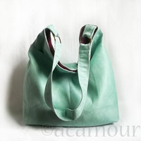 Aquarius Hobo bag - in Mint Green Vegan Suede - or Customize Your Handbag