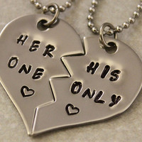 Her One His Only Necklaces - Couples Jewelry - Girlfriend Boyfriend Gift - Hand Stamped His and Her Necklaces - Stainless Steel