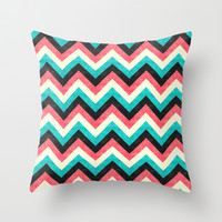 Chevron - Coral Turquoise Black Throw Pillow by Jacqueline Maldonado