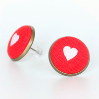 Red Hearts Stud Earrings - Fresh Beach Summer Earring Studs - Red and White Heart Fabric Buttons Jewelry - Love Earring Posts
