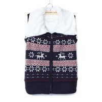 Reindeer Pattern Knit Fleece Accent Collar Warm Winter Vest
