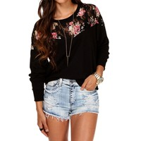 Black Floral Lace Dolman Top