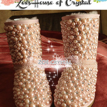 PROMOTION WINTER Bling and Sparkly Pink Pearls SheepSkin Wool BOOTS w shinning Czech or Swarovski Crystals