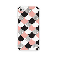 Peach and Black Scallop iPhone 5 Case - Pastel Coral Pink iPhone 5s Case - Faux Woodgrain