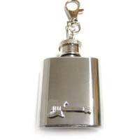 Guitar 1 oz. Stainless Steel Key Chain Flask.