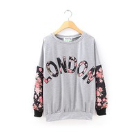 ZLYC Vintage Floral LONDON Printed Casual Sweatshirt