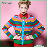 Fashionable Rainbow Striped Cardigan Sweater - Buy Cardigan Sweater,Design Cardigan Sweater,Fancy Cardigan Sweater Product on Alibaba.com