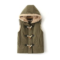 ZLYC Army Green Quilted Gilet Jacket with Sherling Hood & Lining for Girls