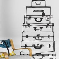 Suitcases Wallsticker in Black design by Ferm Living | BURKE DECOR