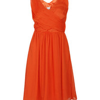 Pleated Crossed Shiny Orange Dress [NCSKI0251] - $47.99 :