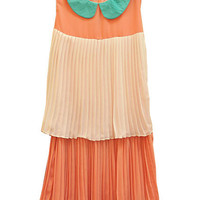 Contrast Collar Pleats Orange Dress [NCSKK0399] - $46.99 :