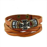 Women leather bracelet cross pendant orange Leather bracelet Charm Bracelet  high quality bracelet  T1