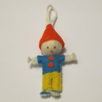 Gnome Cloth Doll Ornament - Gnome, Elf, Felt, Wool, Cloth, Orange, Blue, Yellow, Cute, Gift