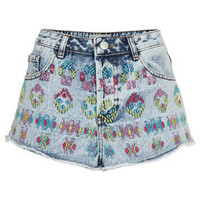 MOTO Aztec Embroidered Shorts - Denim  - Clothing