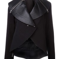 DAVID KOMA - Spread Collar Leather Jacket - DK03J WL BLACK - H. Lorenzo