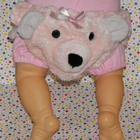 Noah's Ark Baby Girl Plush Pink Bear Diaper Cover Photo Prop