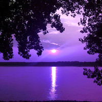 Nature photography sunset over the Mississippi, striking purple print, fine art photography, home decor wall art, purple Mississippi art