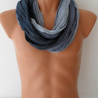 Men's Fashion Scarf - Christmas Gift - Cotton Man Scarf - Blue - For Him