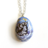 Husky Dog Necklace, Angel Pendant, Alaskan Malamute,  Pet Memorial Jewelry, Beach Stone Painting, Pet Loss Accessory, Blue Sky, Sled Dogs
