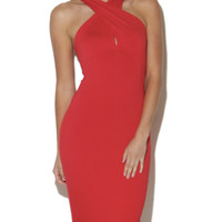 Crepe Cross Front Halter Midi | Shop English Manor at Arden B