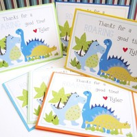 Personalized Dinosaur Thank You Cards for Birthday or Baby Shower