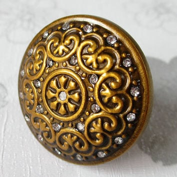 Antique Brass Knobs Glass Crystal From LynnsGraceland Brass